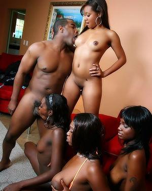 Четыре негритянки ублажают одного парня. 3 фото