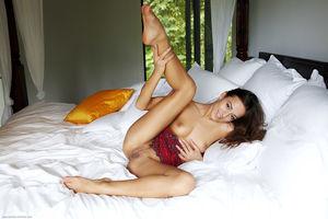 Брюнетка широко раздвинула ножки и показала киску с тёмными половыми губками 1 фото