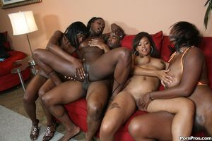 Черный парень долбит дырочки классных негритянок и поливает их спермой 12 фото