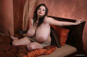 Пухлая брюнетка демонстрирует свои огромные груди 2 фото